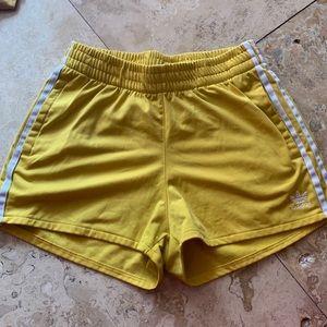 adidas yellow shorts womens